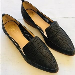 Vince Camuto Black Leather Cutout Loafer Flats